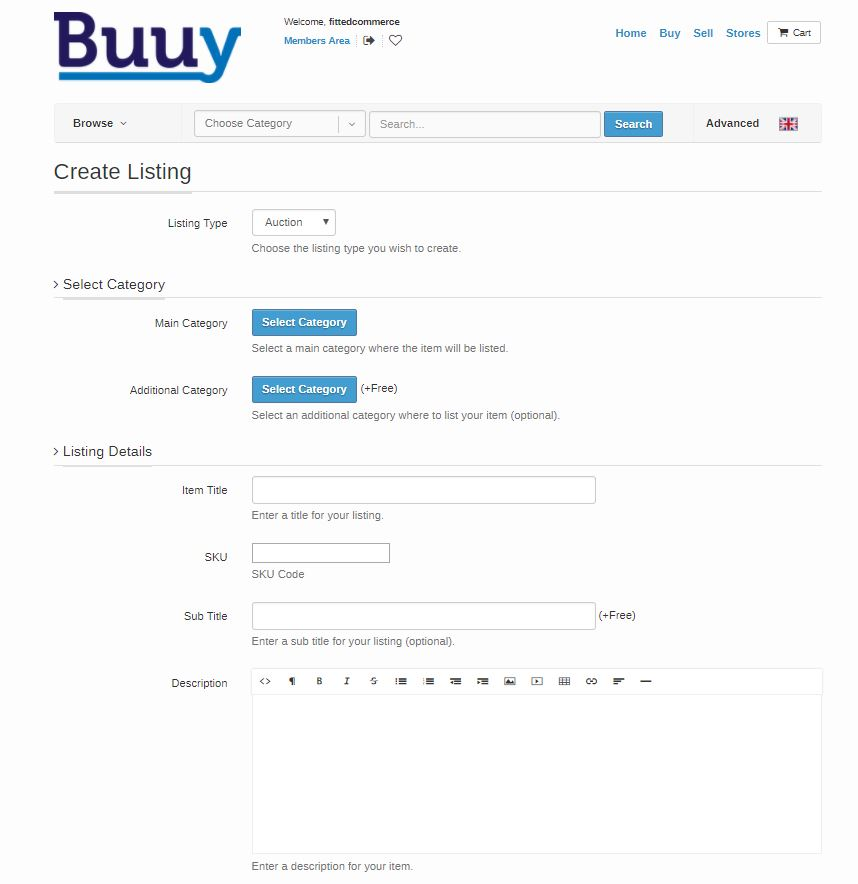 buuy listing creation